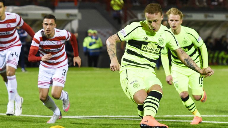 Leigh Griffiths scores with his first penalty to give Celtic a 1-0 lead at Hamilton