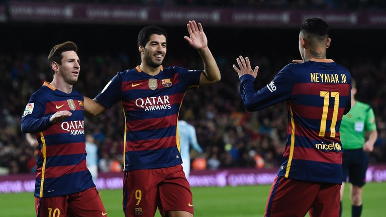 Barcelona's 'MSN' - Messi, Suarez, Neymar - celebrate against Celta Vigo