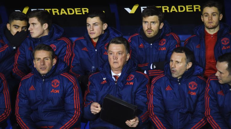 Louis van Gaal looks on as United progress to the quarter-finals