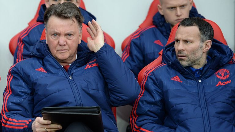 Louis van Gaal surveys the scene at Sunderland alongside Ryan Giggs