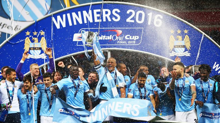 Manchester City beat Liverpool in the Capital One Cup final on Sunday and lifted the trophy at Wembley.