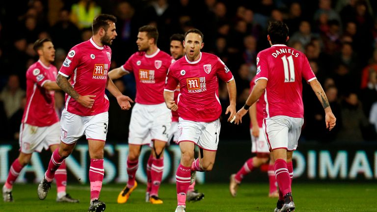 Marc Pugh celebrates scoring Bournemouth's first goal of the game