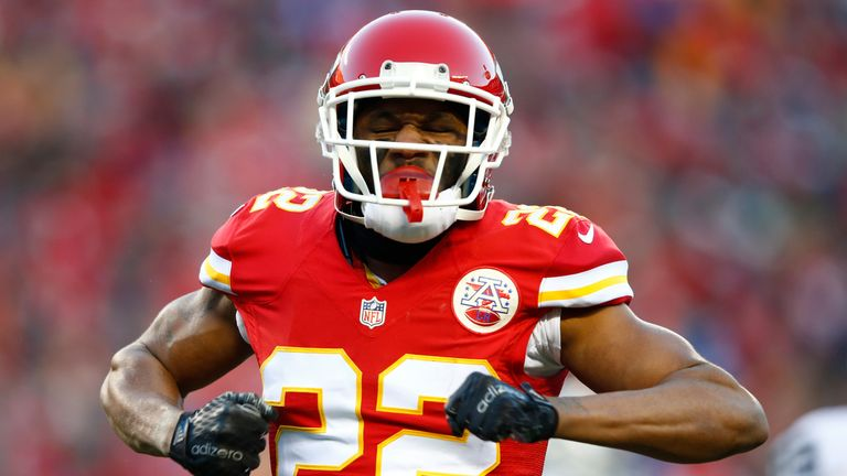 Marcus Peters #22 of the Kansas City Chiefs celebrates after defending against a pass at Arrowhead Stadium