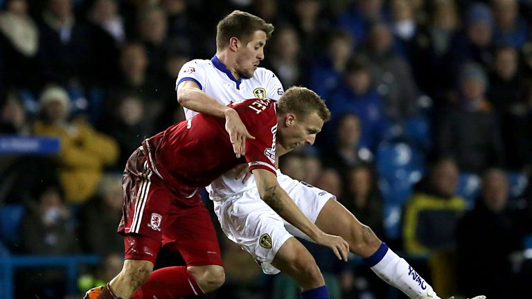 Middlesbrough's Ritchie De Laet and Leeds United's Scott Wootton battle for the ball