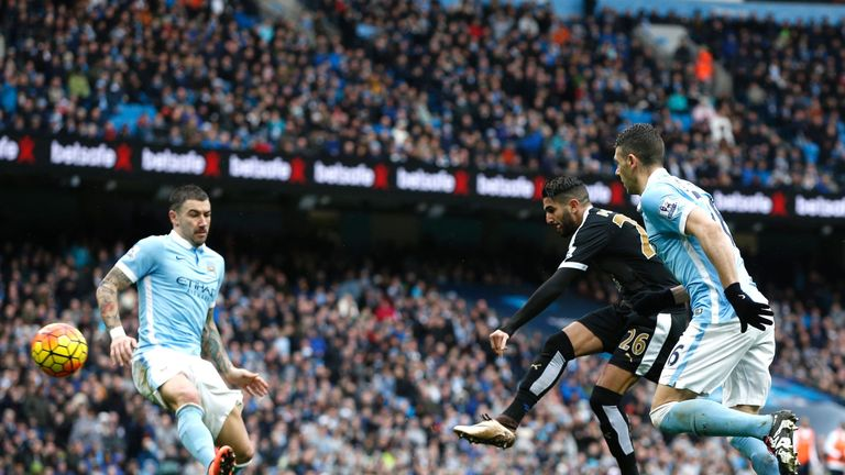 Riyad Mahrez fires in Leicester's second at Man City