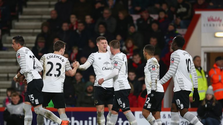 Ross Barkley (third left) of Everton celebrates scoring his team's first goal against Bournemouth at the Vitality Stadium