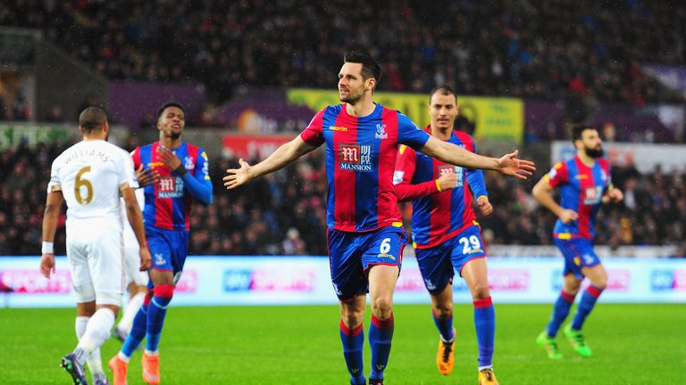 Scott Dann of Crystal Palace celebrates scoring the equaliser