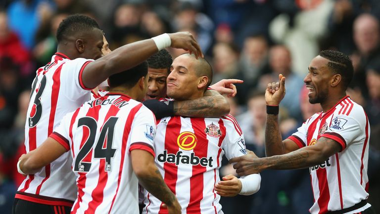 Sunderland celebrate Wahbi Khazri's opener against Manchester United
