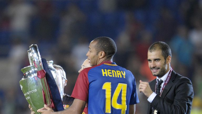 Thierry Henry and Pep Guardiola celebrate Barcelona's Champions League win over Manchester United in 2009