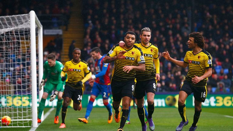 Deeney celebrates scoring his first goal at Crystal Palace