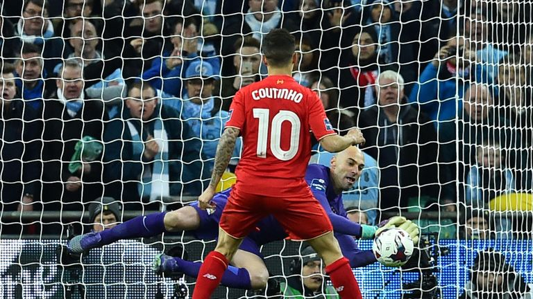Willy Caballero saves Coutinho's penalty, his second of three in the shoot-out