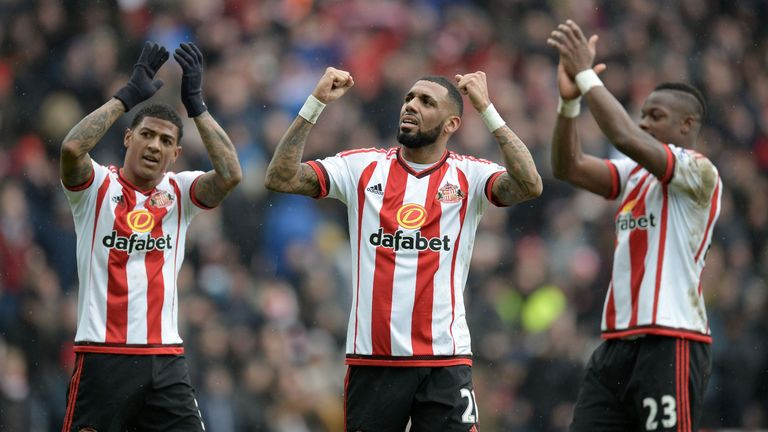 Sunderland's Yann M'Vila and Lamine Kone applaud the fans after beating Manchester United