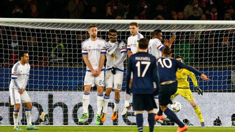 Zlatan Ibrahimovic's free-kick deflects off John Obi Mikel to give PSG the lead