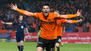 Dundee United's Scott Fraser celebrates after scoring against Partick Thistle in the Scottish Cup