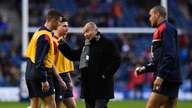Eddie Jones (middle) wants England to give Italy 'a good hiding'
