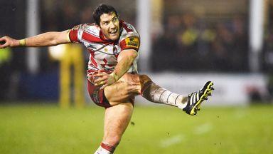 James Hook of Gloucester kicks a penalty against Bath