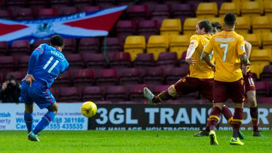 Inverness Caley Thistle's Jordan Roberts makes it 2-1 against Motherwell