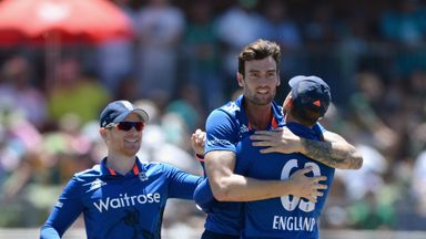 PORT ELIZABETH, SOUTH AFRICA - FEBRUARY 06:  Reece Topley of England celebrates with England captain Eoin Morgan and Jos Buttler after dismissing JP Duminy