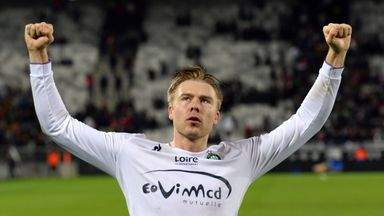 Alexander Soderlund celebrates after scoring against Bordeaux