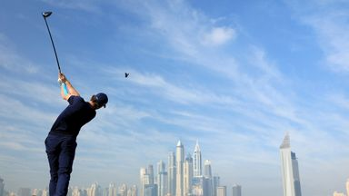 Thomas Pieters of Belgium plays from the eighth tee during the pro-am as a preview for the 2016 Omega Dubai Desert Classic