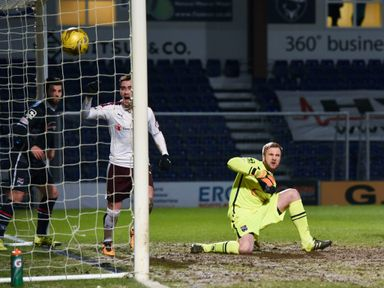 Jamie Walker (centre) celebrates after making it 1-0 to Hearts