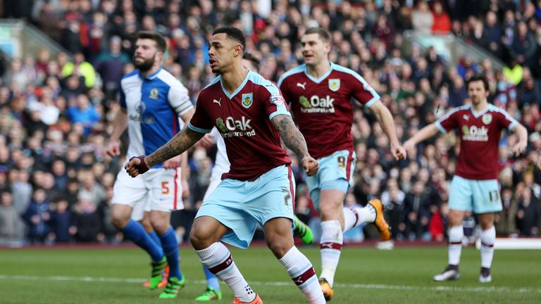 Burnley's Andre Gray celebrates scoring his side's first goal of the game