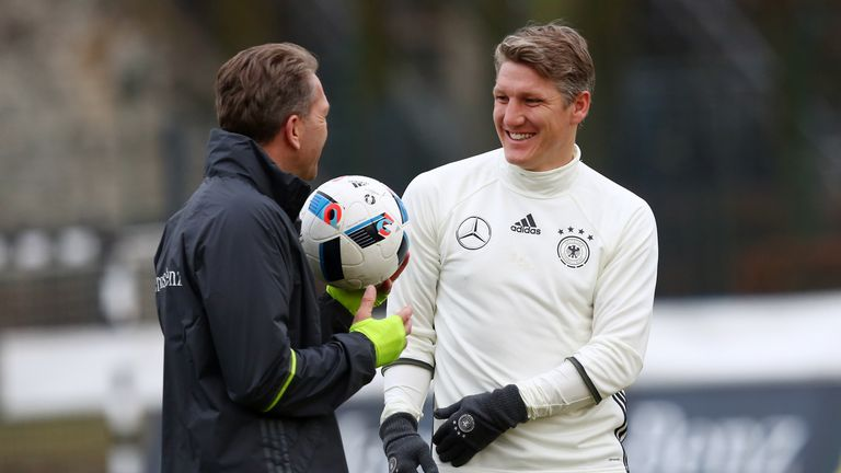 Bastian Schweinsteiger (R) suffered the injury while on international duty with Germany
