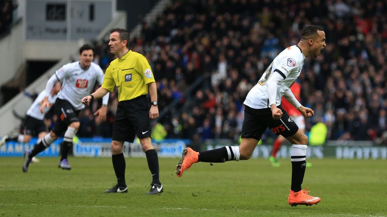 Derby County's Marcus Olsson celebrates