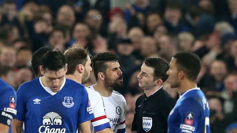 Diego Costa was red carded by Michael Oliver on Saturday