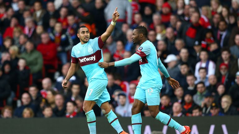 Dimitri Payet (left) celebrates after his stunning opening goal