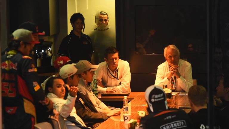 Many of the F1 drivers met with Charlie Whiting during testing in Barcelona