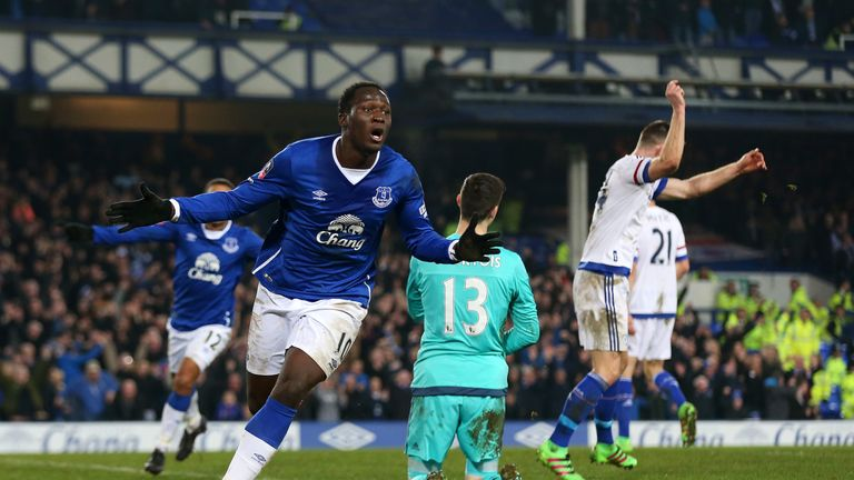 Romelu Lukaku celebrates after opening the scoring at Goodison Park