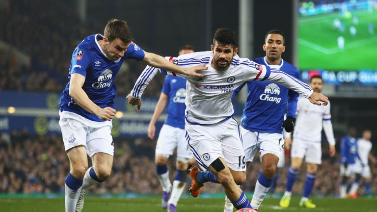 Costa and Seamus Coleman  compete for the ball