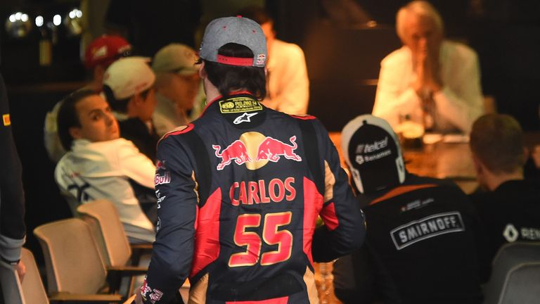 Carlos Sainz arrives for the meeting with the FIA