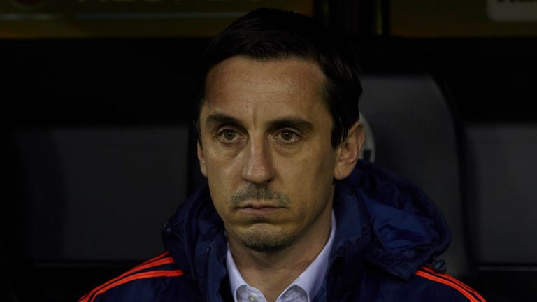 Gary Neville watched his Valencia side lose at Levante