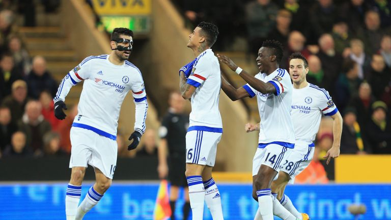 Kenedy (second left) of Chelsea celebrates scoring his team's first goal against Norwich