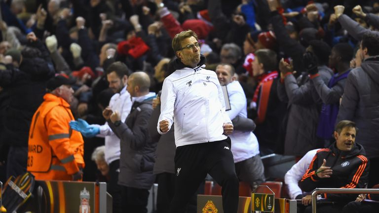 Klopp celebrates after Liverpool's second goal