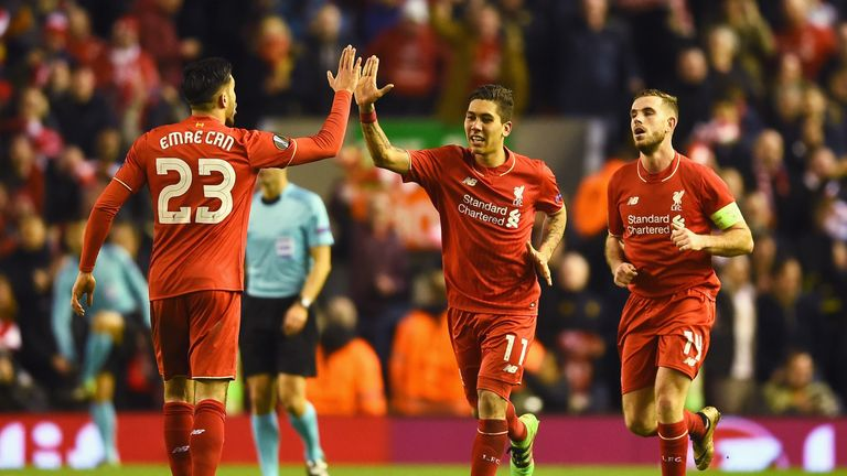 Roberto Firmino celebrates after scoring the second Liverpool goal on 73 minutes