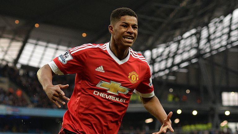 Marcus Rashford celebrates his opening goal