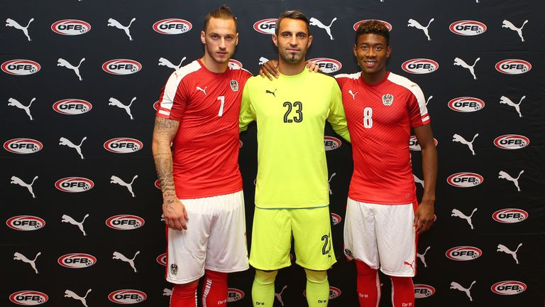 Marko Arnautovic (L), Ramazan Ozcan (C) and David Alaba (R) all modelling the latest Austria home kit