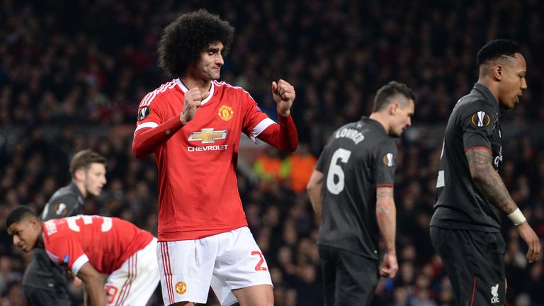 Marouane Fellaini reacts after missing a chance