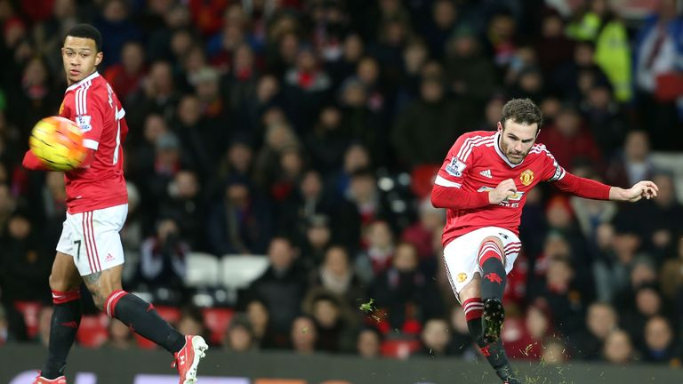Mata scores Manchester United's match-winning goal in the 83rd minute against Watford