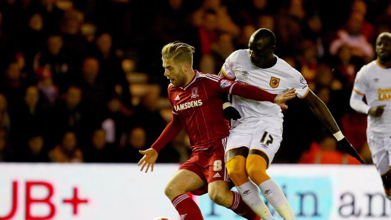 Mohamed Diame (right) and Middlesbrough's Adam Clayton battle for the ball