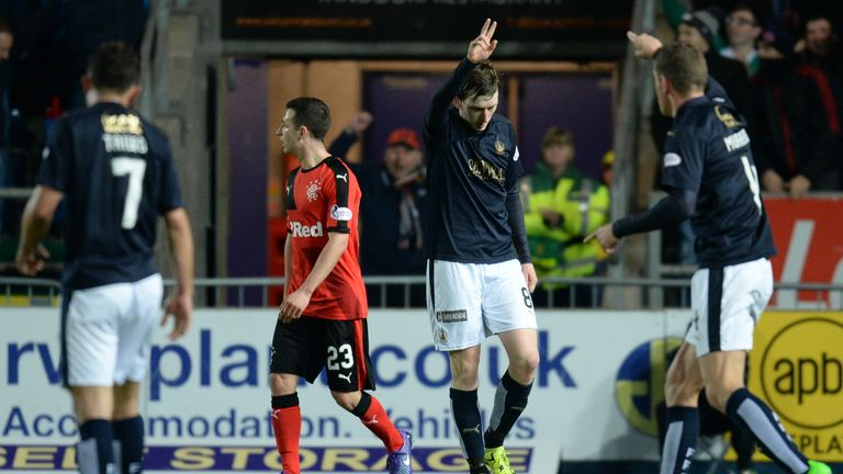 Falkirk's Blair Alston (centre) celebrates his spectacular strike against Rangers
