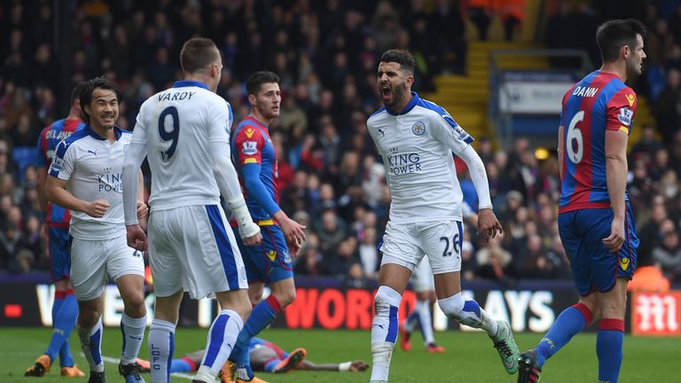 Riyad Mahrez celebrates scoring the only goal of the game