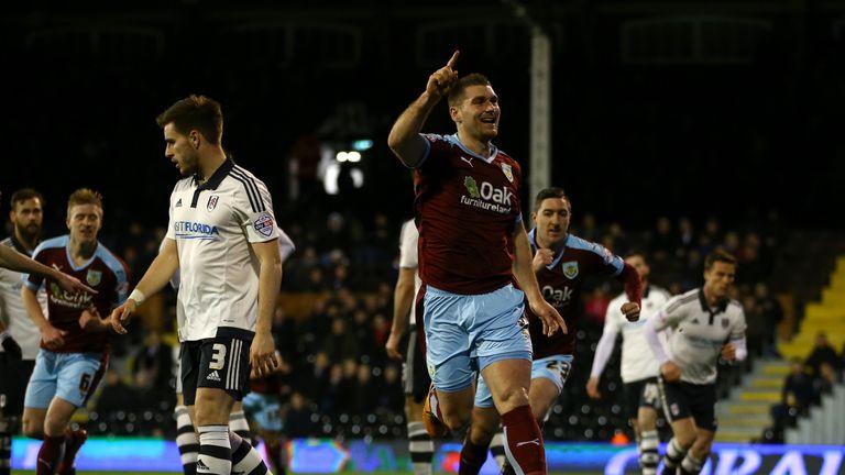 Sam Vokes celebrates scoring the first goal against Fulham