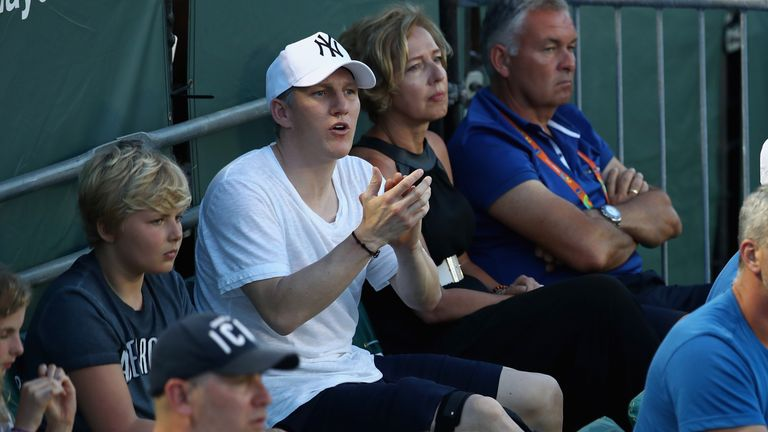 The Manchester United midfielder was seen wearing a knee brace at the Miami Open