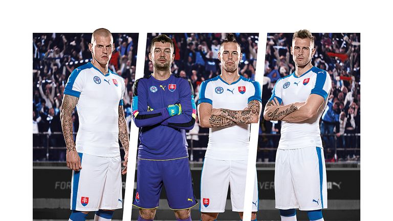 England's group B opponents Slovakia looking confident in white and blue