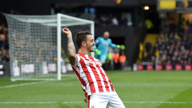 Joselu celebrates scoring Stoke's second with a delightful chip