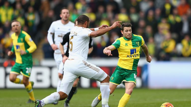 Wes Hoolahan is challenged by Ashley Williams